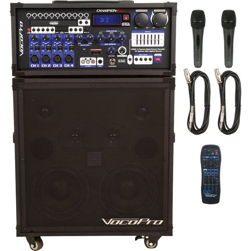 VocoPro Basic 200W 4-Channel Multi-Format Portable P.A. System with Digital Recorder - CHAMPION-REC