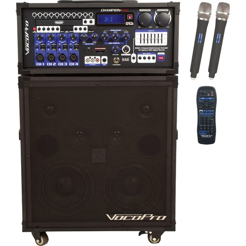 VocoPro 200W 4-Channel Multi-Format Portable P.A. System with Digital Recorder - CHAMPION-REC-6