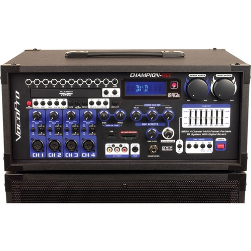 VocoPro 200W 4-Channel Multi-Format Portable PA with Digital Recorder - CHAMPION-REC-H4