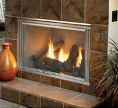 Majestic Dakota 42 Inch Outdoor Gas Fireplace with herringbone brick and IntelliFire Natural Gas - DAKOTA42H-B