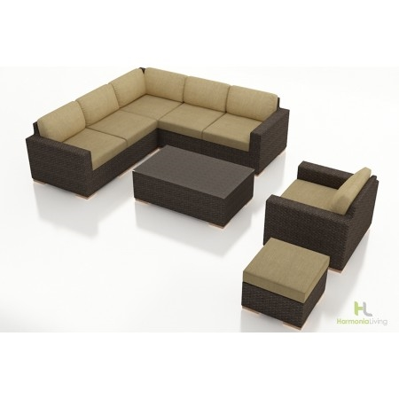 Arden 8 Piece Outdoor Sectional Set, Heather Beige Cushions - HL-ARD-CH-8SEC-HB