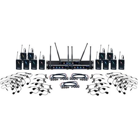 VocoPro Twelve-Channel UHF Hybrid Wireless Headset and Lapel Mic System - Hybrid-Acapella-12