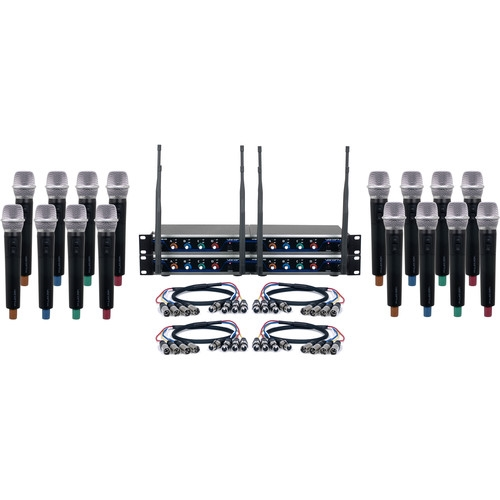 VocoPro Sixteen-Channel Hybrid Wireless System with Handheld Microphones - HYBRID-ACAPELLA-16