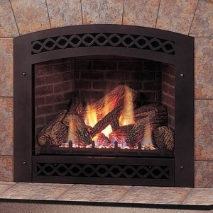 Majestic Fireplace With Ceramic Glass Lexfire Burner Embers Logs Natural Gas - LX32DVNSL
