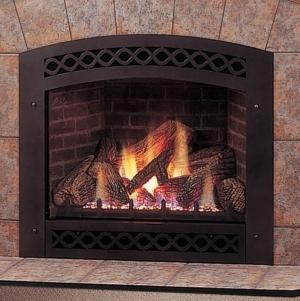 Majestic Lexington Fireplace With Ceramic Glass Lexfire Burner Embers Logs Propane Gas - LX36DVPSL