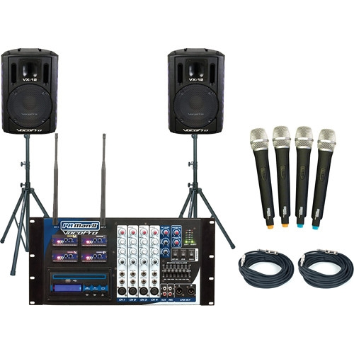 VocoPro PRO 4-Channel Wireless All-In-One P.A. System Package - PA-MAN-II-PRO