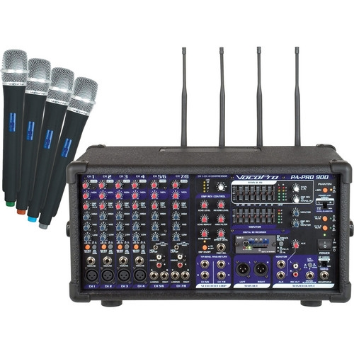 VocoPro 900W Professional PA Mixer 4 Wireless UHF Modules - PA-PRO-900-2