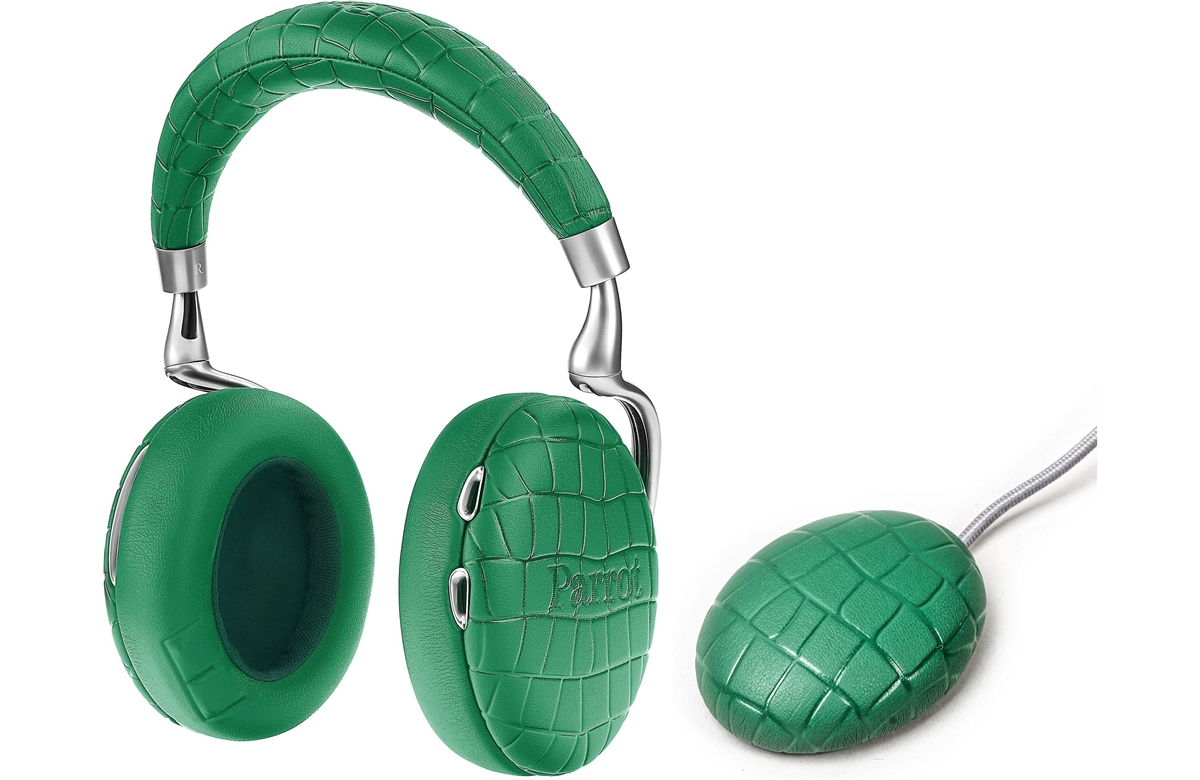 Parrot Zik 3.0 Stereo Bluetooth Headphones & Wireless Charger (Crocodile-Emerald Green)  - PF562104   ( COLUMBUS DAY SALE STARTS NOW)