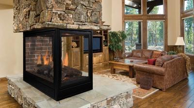Majestic Designer 36 Inch Top Vent/Rear Vent Clean Face Peninsula Direct Vent Fireplace Signature Command Control - PFLDVPPSC