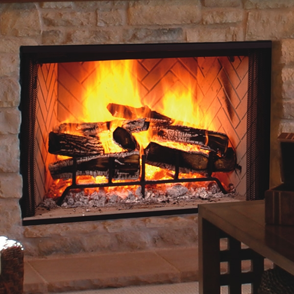 Majestic Biltmore 38 Inch Radiant Wood Burning Fireplace w/herringbone brick pattern - SB60HB