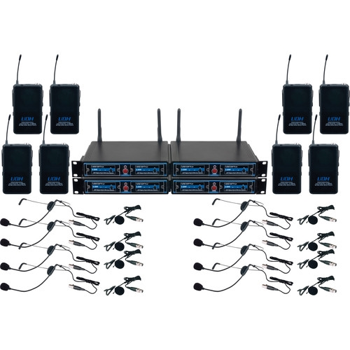 VocoPro  Eight-Channel UHF/DSP Hybrid Bodypack Wireless Microphone Package - UDH-PLAY-8
