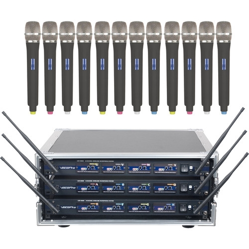 VocoPro Professional 4Channel UHF Wireless Microphone Kit with Flight Case - UHF-5800-C12